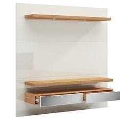 Painel 180 cm C/Led - Dalla Costa - Off White/Freijo/Espelho