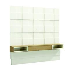 Painel 225Cm Quadriculado 3D C/01 Gaveta - Dalla Costa - Off White / Carvalho
