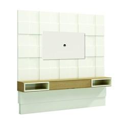 Painel 225Cm Quadriculado 3D C/01 Gaveta + Led - Dalla Costa - Off White / Carvalho