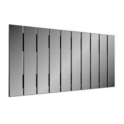 Painel Decorativo Barra Vertical 150Cm - Dalla Costa - Preto Brilho / Espelho