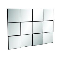 Painel Decorativo Quadriculado 3D 100Cm - Dalla Costa - Preto Brilho / Espelho