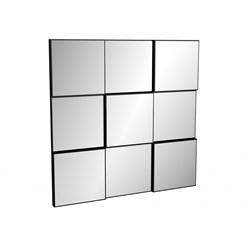 Painel Decorativo Quadriculado 3D 75Cm - Dalla Costa - Preto Brilho / Espelho
