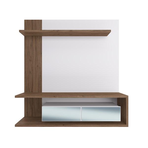 Painel EST203 C/ Espelho Para TV até 60 Pol. 2 Portas CRM Branco/Madeirado