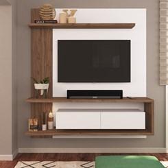 Painel EST203 Para TV até 60 Pol. 2 Portas CRM Branco/Madeirado