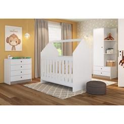 Quarto Infantil completo com Berço Montessori Meu Fofinho - Art In - Branco