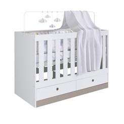 Quarto Infantil completo com Berço Multifuncional com Gavetas Amore Meu Fofinho - Art In - Branco