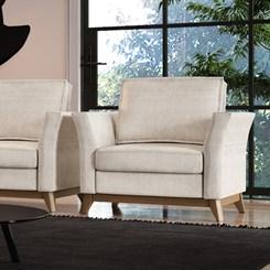 Sofá de 1 lugar espuma D 28 soft Vinkel CDP Bege e branco