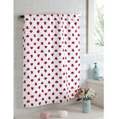 Toalha de banho felpuda Prisma Dohler coração Vermelho