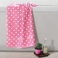 Toalha de banho felpuda Prisma Dohler Estampada Poá Rosa