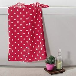 Toalha de banho felpuda Prisma Dohler Estampada Poá Vermelho